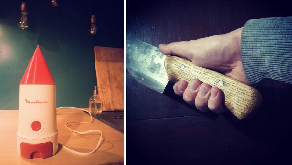 tappo macinacaffè realizzato con stampante 3D e manico in legno di un vecchio coltello realizzato al fablab